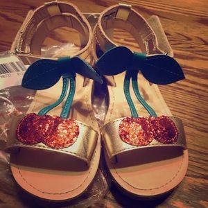 NWT CARTER'S CHERRIE T-Stap Sandals Cherry Glitter